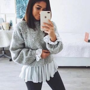 Zara pearl embellished cropped sweater